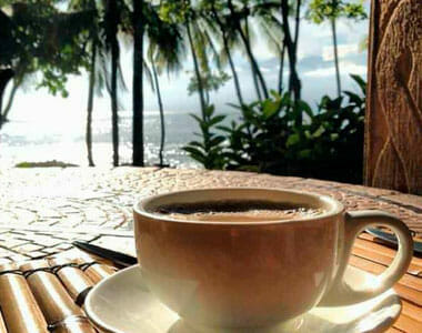 Enjoy coffee outside with an ocean view