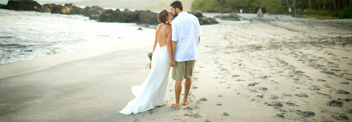 wedding couple on the private beach